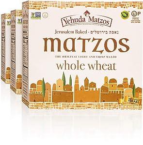 Yehuda Whole Wheat 10.5 oz Matzo Thins (3 Pack) Jerusalem Baked, Thin, Crisp & Delicious! Kosher for Passover