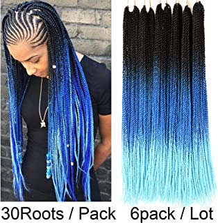 VCKOVCKO 6 Packs Ombre Color Crochet Senegalese Twist Braids 30 Roots/Pack 6 Pack/Lot Synthetic Hair Extensions 100g/Pack Small Havana Twist Crochet Hair 24 Inches(Black-Blue-Light Blue)