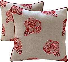 Eight Owls Pillow Covers - Flower Design Decorative Embroidered - Set of 2 - Red Rose