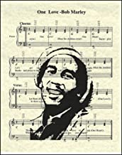 Ready Prints One Love by Bob Marley Music Sheet Artwork Print Picture Poster Home Office Bedroom Nursery Kitchen Wall Decor - unframed