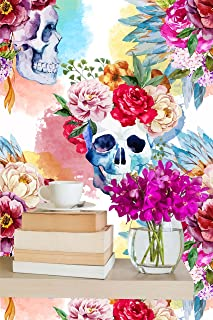 Removable Wallpaper Mural Peel & Stick Watercolor Skull Flowers (25W x 50H Inches)