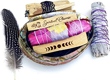 MAMA WUNDERBAR Smudge Kit Gift Set with Abalone Shell, Feather, Engraved Palo Santo, White Sage and Floral Sage (Large, Abalo
