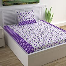 Divine Casa Sense Cotton BedSheet with 1 Pillow Cover - Floral, Purple and White