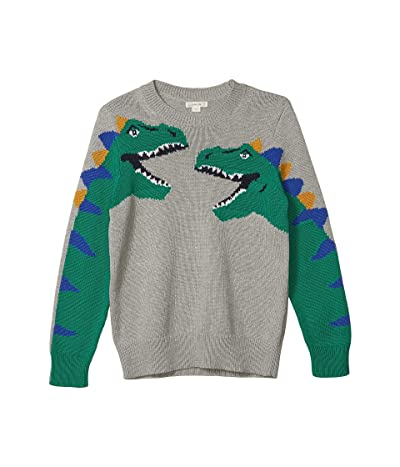 crewcuts by J.Crew Dino Cotton Sweater (Toddler/Little Kids/Big Kids) (Heather Grey/Green Multi) Boy