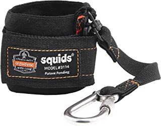 Ergodyne Squids 3114 Pull-On Wrist Tool Lanyard with Stainless Steel Carabiner Connection, 3 Pounds,Black