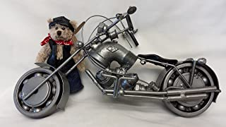 Recycled Metal Part Motorcycle Sculpture Die Cast Harley Davidson Collectible Art Motorcycle 12 Inch Motorbike with Miniature Biker Boy Teddy Bear - 2 Pcs/Set