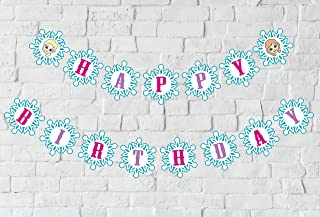 Snowflake Birthday Banner, Winter Wonderland Snow Princess Themed Birthday Sign Party Decorations