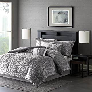 Madison Park Carlow Cal King Size Bed Comforter Set Bed In A Bag - Grey, Geometric Metallic Print - 7 Pieces Bedding Sets...