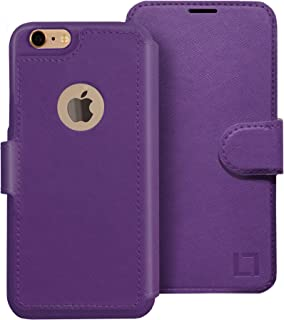 LUPA iPhone 6S Wallet case, iPhone 6 Wallet Case, Durable and Slim, Lightweight with Classic Design & Ultra-Strong Magnetic Closure, Faux Leather, Purple, for Apple iPhone 6s/6