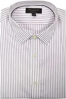 Mens Classic-Fit Non-Iron Button Down Shirt White Pink Plaid