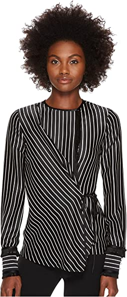 Fringe Detailed Stripe Tuxedo Shirt