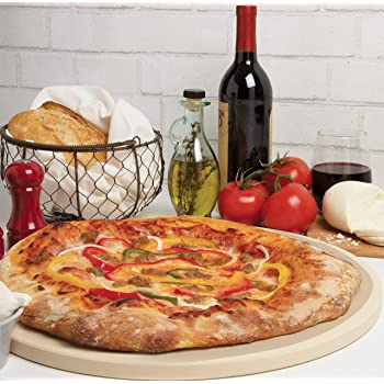 """CucinaPro Pizza Stone for Oven, Grill, BBQ- Round Pizza Baking Stone- XL 16.5"""" Pan for Perfect Crispy Crust"""