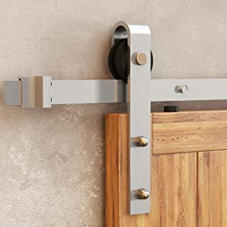 Homacer Sliding Barn Door Hardware Stainless Steel Brushed Nickel Single Door Kit, 7FT Flat Track Classic Design Roller, Heavy Duty Interior Exterior Use