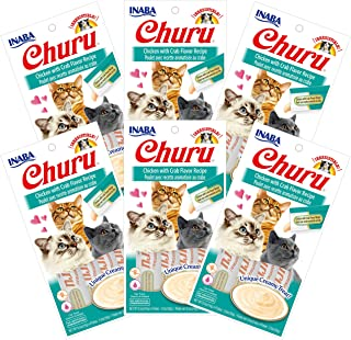 INABA Churu Chicken with Crab Flavor Recipe 6 Packs, 56 Grams (USA609A)