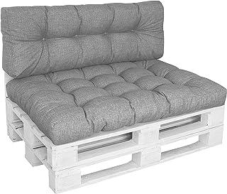 DILUMA | Set de 2 Piezas Gris | Asiento 120x80 cm + Respaldo 120x40cm | Cojín Confort para sofás palés Repelente a Las Manchas