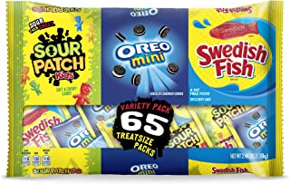 65 Count OREO Mini, SOUR PATCH KIDS & SWEDISH FISH Halloween Bulk Candy Trick or Treat Size Variety Pack, Individual Snack Bags