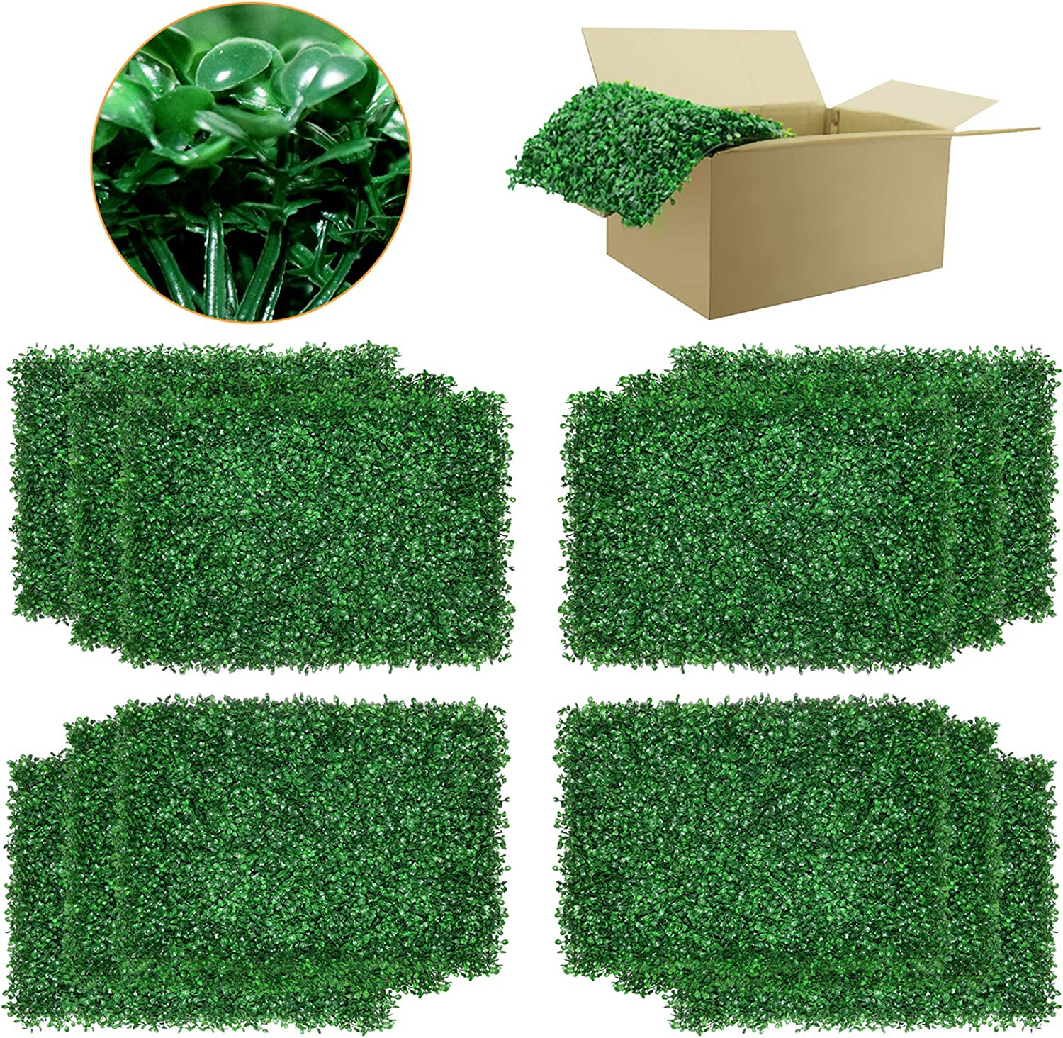 DQS High order Artificial Boxwood depot Panels - 12 Wall Bac Faux Pieces Hedge of