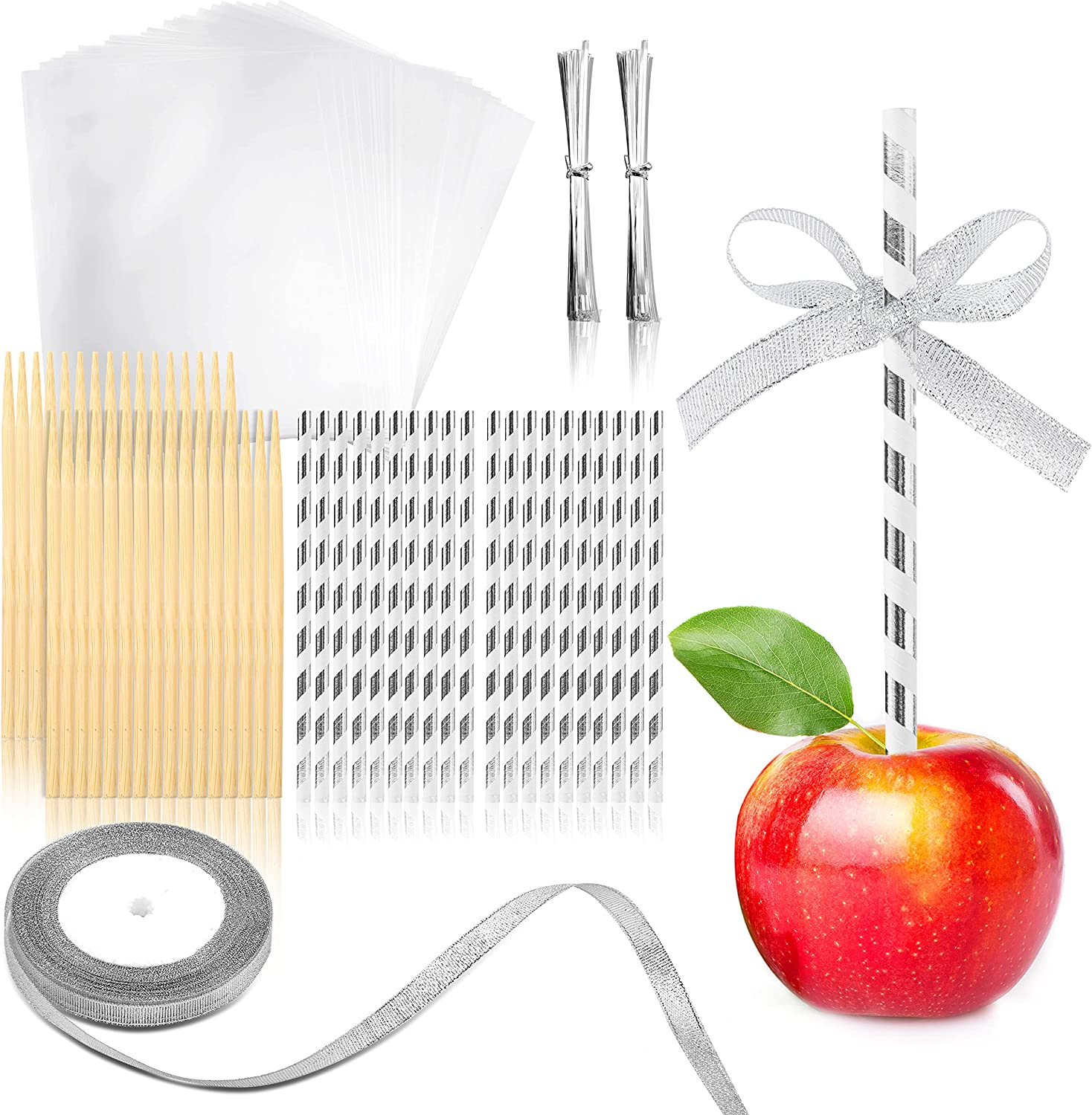 Pllieay 30 Pack Candy Apple Kit, Include Bamboo Sticks, Candy Glass Paper, Paper Straws, Glitter Ribbon, Metallic Twist Ties, Candy Apple Making Accessory for Caramel Apples, Cake Pop