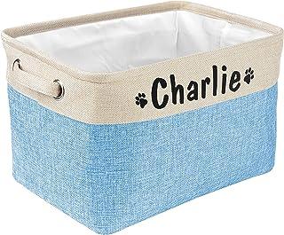 PET ARTIST Panier de rangement pliable pour jouets pour chien avec nom personnalisé – Boîte de rangement rectangulaire pou...