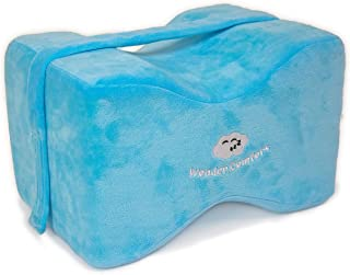 Wonder Comfort Orthopedic Memory Foam Knee Pillow for Side Sleepers with Strap, Leg Pain, Sciatica Relief, Back Problems, Pregnancy, Hip and Joint Issues - Wedge Contour Alignment Cushion