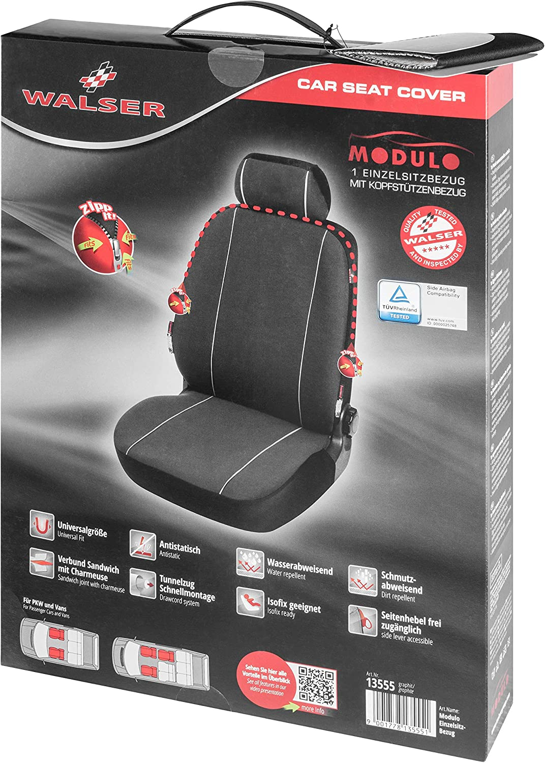 Walser Modulo Car Seat Cover Single Front Seat Cover Black Universal Matching Seat Cover 13555