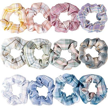 New Girls Pastel White Metallic Bow Print Scrunchie Hair Elastic Bobble Xmas