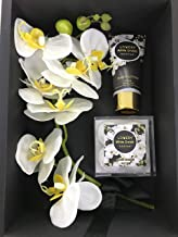 Bath and Body Gift Baskets for Women, Spa Gift Basket, Plant Essential Oil with Bouqet of White Orchid Soaps, White Orchid Scented Hand Lotion & 4 Bath Bombs