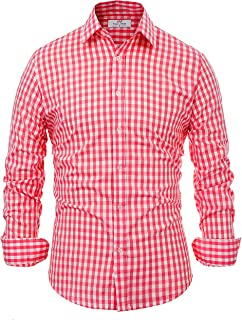 Paul Jones Casual Plaid Dress Shirts for Men Checkered Button Down Shirt CL6299