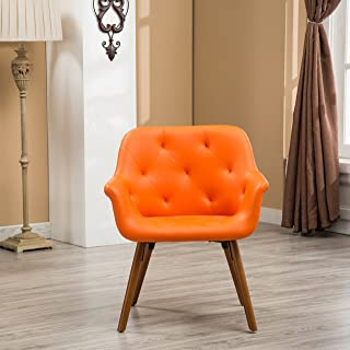Roundhill Furniture Vauclucy Contemporary Faux Leather Diamond Tufted Accent Chair, Orange