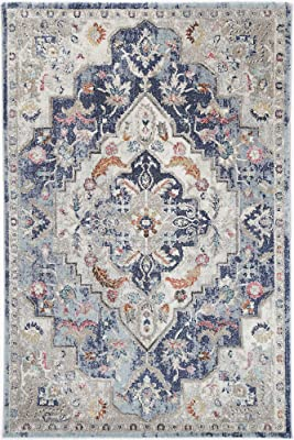 Brand Ventures Alexander Transitional Navy Multi Rug, 230 cm Length x 160 cm Width
