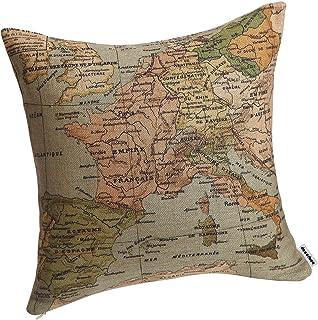 Decorbox Capa de almofada decorativa de tecido de linho 45,72 x 45,72 cm, Mapa do Mediterrâneo, #34, 18 inches*18 inches, 1
