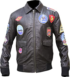 Top Gun Tom Crusise Jet Fighter Bomber Brown Leather Jacket,XXS-3XL