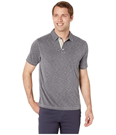 True Grit Lux Textured Softest Knit Short Sleeve Polo (Charcoal) Men