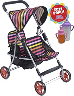 Exquise Buggy, My First DOLL Twin Stroller Front and Back with Basket With 2 FREE Magic Bottles Included