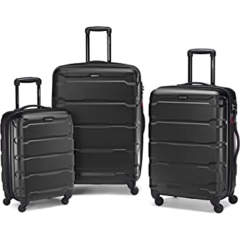 Samsonite Omni PC Hardside Expandable Luggage with Spinner Wheels, Black, 3-Piece Set (20/24/28)