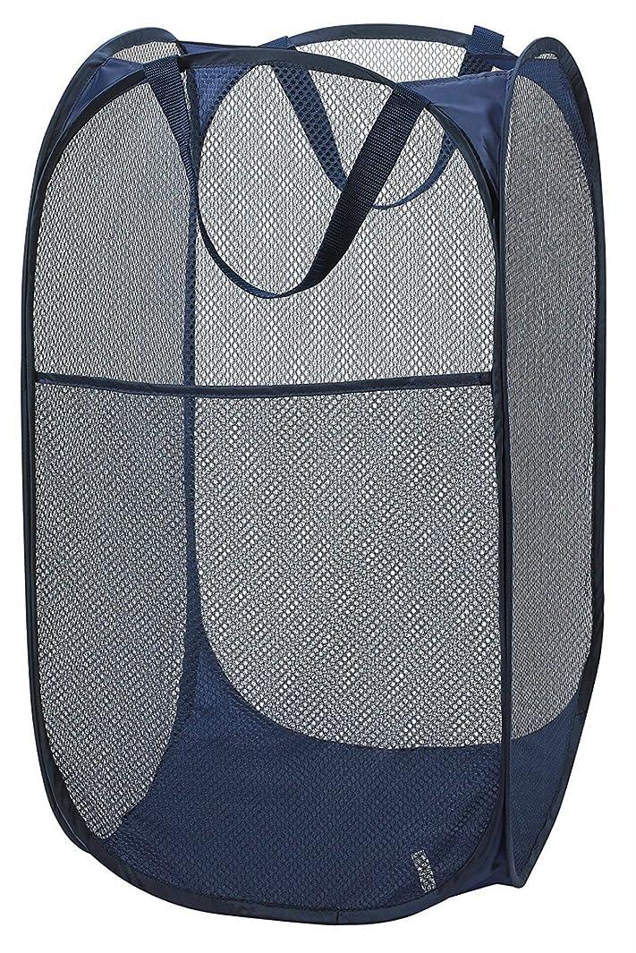 マイクロプロセッサワインお世話になった洗濯かご Enera ランドリーバスケット 洗濯物入れ ランドリー収納 脱衣かご  折り畳み式 メッシュ 取っ手付き (ブルー)