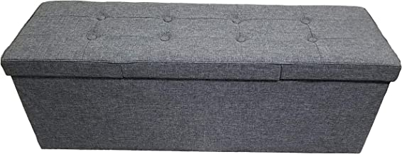 Fancy Linen Faux Linen Grey Foldable Storage Rectangle Ottoman Bench 3 Seats New
