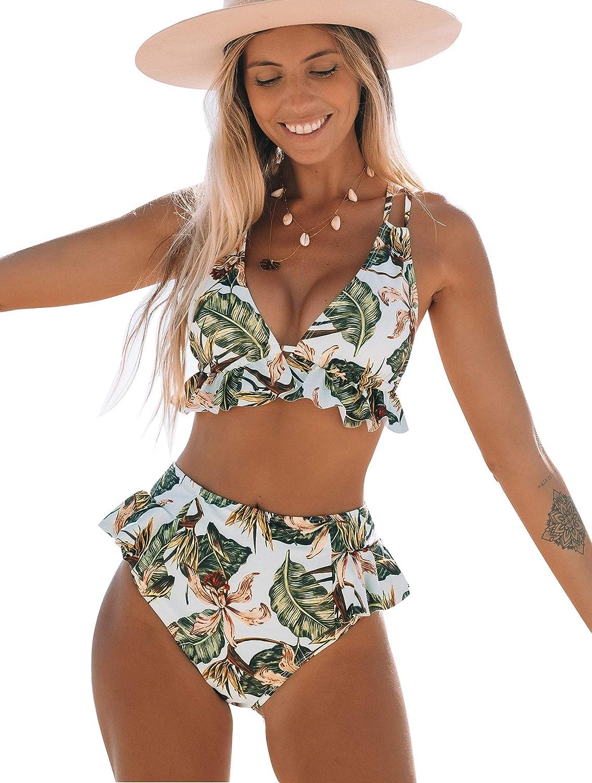 Telaura High Waisted Ruffle Bikini Set Women Swimsuit Bathing Suit