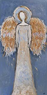 Faceless Guardian Angel Painting Wings Artwork on CANVAS Gold Blue Wall Art for Living Room Bedroom Nursery Christmas Original Oil Texture 16x32