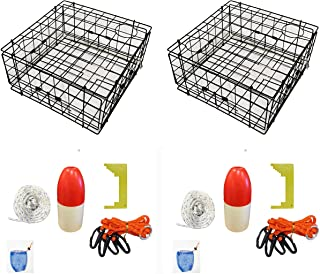 """KUFA Vinyl Coated Crab Trap Accessory Kit (100' Non-Lead Sinking Line, Clipper, Bait Bag 14"""" Float) (2 Pack)"""