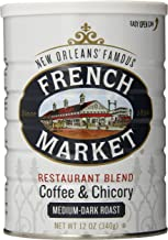 French Market Coffee, Coffee & Chicory Restaurant Blend, Medium-Dark Roast Ground, 12 Ounce Metal Can