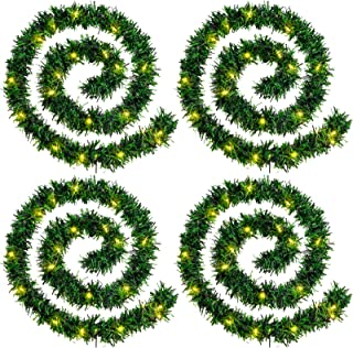 WILLBOND 4 Strands Christmas Garlands 72 Feet Artificial Pine Garland Soft Greenery Wreaths with 160 Warm LED Lights for C...
