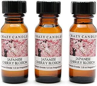Crazy Candles Japanese Cherry Blossom 3 Bottles 1/2 FL Oz Each (15ml) Premium Grade Scented Fragrance Oil