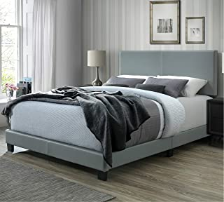 DG Casa Kelly Upholstered Panel Bed, Queen in Grey Faux Leather