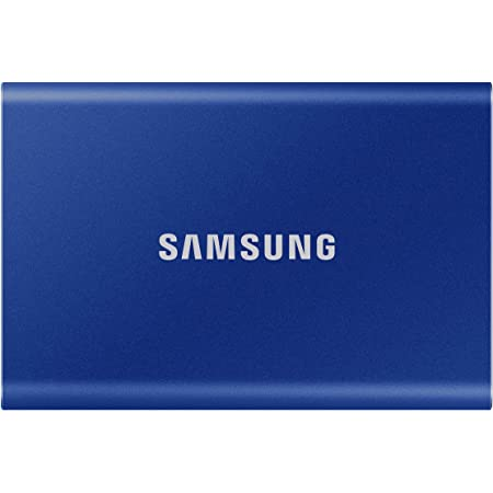 Samsung T7 500GB Up to 1,050MB/s USB 3.2 Gen 2 (10Gbps, Type-C) External Solid State Drive (Portable SSD) Blue (MU-PC500H)