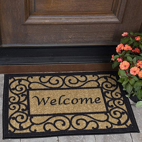 Ottomanson Ottohome Collection Rectangular Welcome Doormat Machine Washable Non Slip Beige 20 X 30