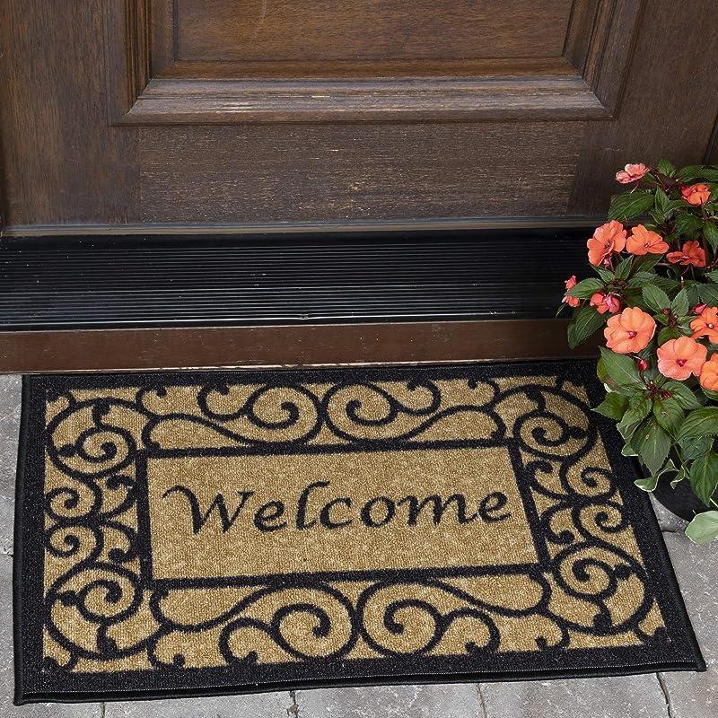Ottomanson Ottohome Collection Rectangular Welcome Doormat Machine Washable Non Slip Beige 20 X 30