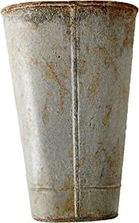 Creative Co-op Metal Wall Bucket with Distressed Zinc Finish