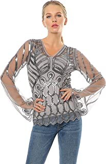 Pagoda Sleeve Tops Lace Cover Up V Neck Sequins Art Deco Inspired See-Through Shirt with Adjustable Camisoles