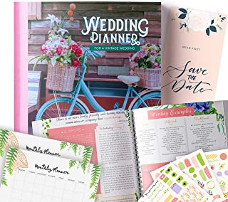 Vintage Wedding Planner | Step-By-Step Binder to Organize Your Dream Day Using Stickers, Photos & Pictures | Journal For Organizing a Wedding by Yourself | Gift for Brides |